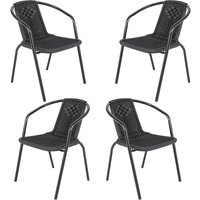 Outdoor Patio Metal Coffee Wicker Dining Chairs, Set of 4 Black