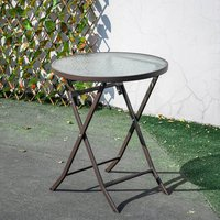 Outdoor Patio Metal Foldable Dining Table or Chairs Dining Set, Only Brown Table