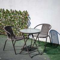 Outdoor Patio Metal Foldable Dining Table or Chairs Dining Set, Brown Table + 2 Chairs
