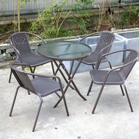 Outdoor Patio Metal Foldable Dining Table or Chairs Dining Set, Brown Table + 4 Chairs