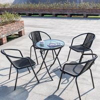 Outdoor Patio Metal Foldable Dining Table or Chairs Dining Set, Black Table + 4 Chairs