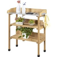 Outdoor Potting Bench Table with Storage Shelf Fir Garden Wooden Potting Station with hook Work Station Gardening Tool