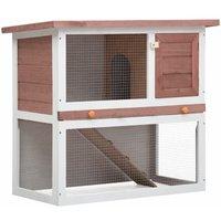 Outdoor Rabbit Hutch 1 Door Brown Wood - YOUTHUP