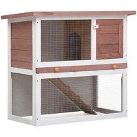 Outdoor Rabbit Hutch 1 Door Brown Wood - Brown - Vidaxl