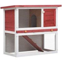 Outdoor Rabbit Hutch 1 Door Red Wood - Red - Vidaxl
