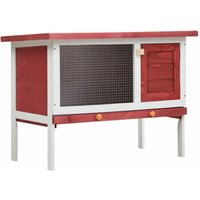 Asupermall - Outdoor Rabbit Hutch 1 Layer Red Wood