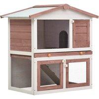 Outdoor Rabbit Hutch 3 Doors Brown Wood - Brown