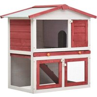 Youthup - Outdoor Rabbit Hutch 3 Doors Red Wood