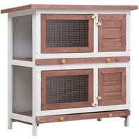Outdoor Rabbit Hutch 4 Doors Brown Wood - YOUTHUP
