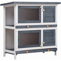 Outdoor Rabbit Hutch 4 Doors Grey Wood - YOUTHUP