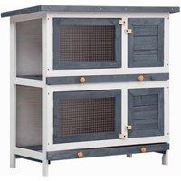 Asupermall - Outdoor Rabbit Hutch 4 Doors Grey Wood
