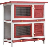 Youthup - Outdoor Rabbit Hutch 4 Doors Red Wood