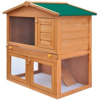 Asupermall - Outdoor Rabbit Hutch Small Animal House Pet Cage 3 Doors Wood