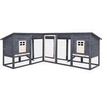 Outdoor Rabbit Hutch with Run Grey and White Solid Fir Wood - VIDAXL