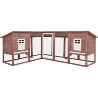 Outdoor Rabbit Hutch with Run Mocca and White Solid Fir Wood - VIDAXL