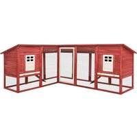 Outdoor Rabbit Hutch with Run Red and White Solid Fir Wood - VIDAXL