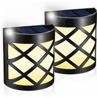 Outdoor Solar Lamp [2pack] LED Solar Outdoor Floor Lamp ? Fence, Patio, Entrance Door, Staircase, Landscape, Waterproof Solar Wall Garden Decoration,