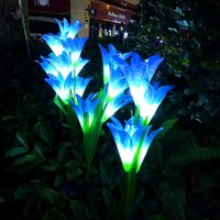 Livingandhome - Outdoor Solar Lamp LED Light Lily Flower Stake Garden Path Party Yard Patio Lamps