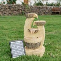 Outdoor Solar Water Feature Fountain LED Lights Cascade 4 Tier Garden Statues Decors