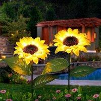 Outdoor Sunflower Solar Garden Decor Yard Stake, 26 Decorative Lights for Garden Patio Porch Backyard (2 Pack)