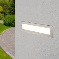 Outdoor Wall Light Jonte (modern) in Silver made of Aluminium (1 light source, A+) from Lucande | brick Light, wall lamp for exterior/interior