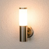 Outdoor Wall Light Kristof (modern) in Silver made of Stainless Steel (1 light source, E27) from Lindby | wall lamp for exterior/interior walls,