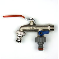 Quantum Garden - Outside Nickle Brass Tap with LEVER 2 Way Inlet 1/2BSP Outlet 3/4 Male and 3/4 Male