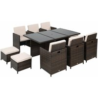 11pc Rattan Garden Furniture Outdoor Dining Set Cube Wicker - Brown - Outsunny