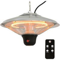 Outsunny 1.5KW Aluminium Patio Electric Heater Ceiling Hanging Halogen Light w/ Remote Control