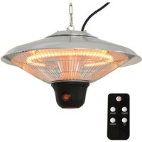1.5KW Aluminium Patio Electric Heater Ceiling Hanging Halogen Light w/ Remote Control - Outsunny