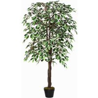 160cm Artificial Ficus Silk Tree Decorative Plant w/ Pot Indoor Outdoor Décor - Outsunny