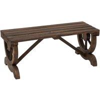 2-Person Rustic Wooden Wheel Bench Outdoor Patio Garden Seat Brown - Outsunny