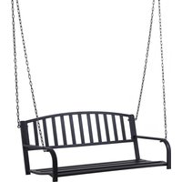 2-Person Swinging Metal Bench Seat Weather-Resistant Outdoor Black - Outsunny