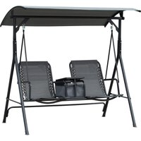 2-Seat Swing Chair Middle Table Steel Frame Adjustable Canopy Grey - Outsunny