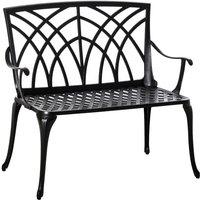 2-Seater Aluminium Garden Bench Decorative Loveseat Ergonomic Armrest - Outsunny