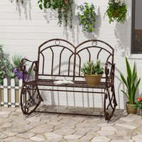 2 Seater Metal Garden Park Swing Bench Rocking Chair Loving Seat Bronze - Outsunny