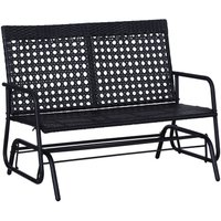 Outsunny 2 Seater Wicker Glider Rocking Bench Outdoor High Back