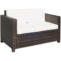 Outsunny 2 Seater Wicker Rattan Sofa Outdoor Garden Furniture Patio Loveseat Brown