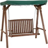 2 Seater Wooden Garden Swing Chair Outdoor Seat Bench w/ Canopy Green - Outsunny
