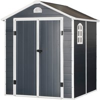 Outsunny 226x190cm Metal Garden Shed Storage 2 Doors Latch Air Vent WIndow Grey