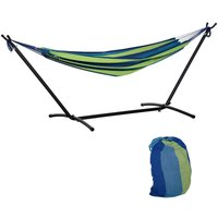277 x 121cm Hammock w/ Metal Stand Carry Bag Garden Lounge Green Stripe - Outsunny