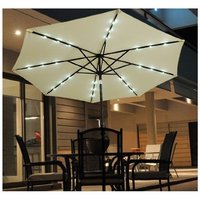 2.7m Patio Garden Umbrella Outdoor Parasol with Crank and 38mm Aluminum Tilt Pole w/ 24 LEDs Lights Cream - Outsunny