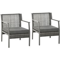 Outsunny 2Pc Wicker Outdoor Chairs Patio Garden Furniture w/ Cushions Grey