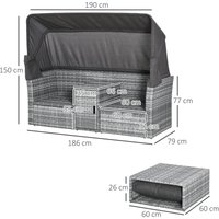 Outsunny 3 PC Outdoor PE Rattan Daybed Sofa Stool Table Set w/ Canopy Cushions