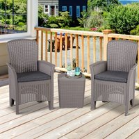 3 Pcs Faux Rattan Table Chair Set w/ Cushions Food Pads Garden Grey - Outsunny