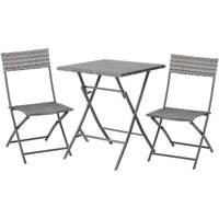 3 Pcs Metal and Rattan Frame Bistro Set w/ Table Chairs Garden Furniture - Outsunny