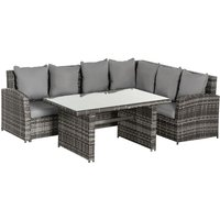Outsunny 3 Pcs Rattan Garden Sofa Dining Set w/ Cushions Table Outdoor Seating