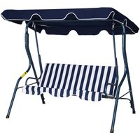 3-Person Outdoor Swing Chair Steel Frame Padded Patio Seat Stripes Blue - Outsunny