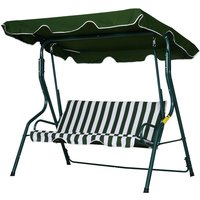 Outsunny 3-Person Outdoor Swing Chair Steel Frame Padded Patio Seat Stripes Green