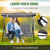 3-Seat Outdoor Swing Chair w/ Angled Canopy Padded Seat Metal Frame - Outsunny
